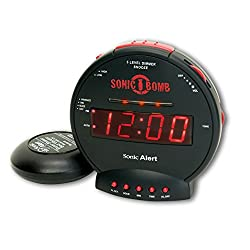 Sonic Alert Digital Alarm Clock with Battery Backup - No Frills Simple Operation, Outlet Powered, Full Range Brightness Dimmer, Big Red Digit Display, Snooze, Alarm - Black