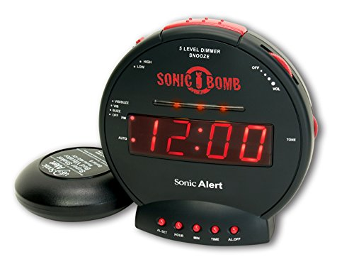 Sonic Bomb Dual Extra Loud Alarm Clock with Bed Shaker, Vibrating Alarm for Heavy Sleepers, Full Range Dimmer, Battery Backup - Black