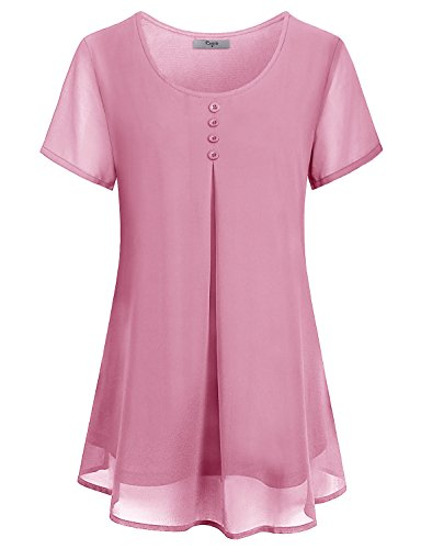 Cestyle Summer Blouses for Juniors,Girls Cute Clothes Womens Short Sleeve Double Layers Chiffon Dressy Babydoll Tunic Tops for Leggings Pink X-Large