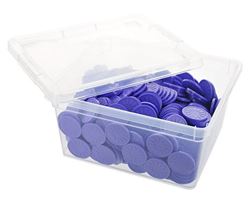 En-Joy embossed plastic tokens - 500 coins - 29 mm - Purple Flower (Purple Plastic Flower)