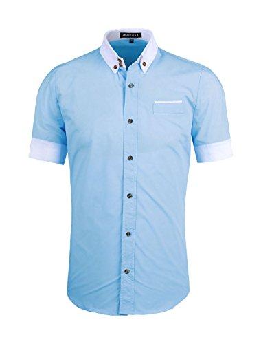 - Allegra K Men Short Sleeve Button Down Round Hem Shirt Top Light Blue M (US 38)