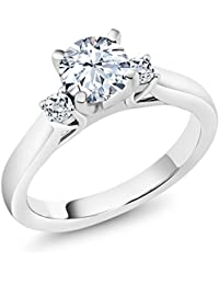 1.48 Ct White Created Sapphire White Topaz 925 Sterling Silver 3-Stone Ring (Available in size 5, 6, 7, 8, 9)