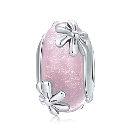 (WOSTU 925 Sterling Silver Love Pink Crystal Spring Murano Charms Beads for Women Girls)