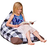 Stuffed Animal Storage Bean Bag Chair Cover For Kids-Plush Toy Organization For Toddlers Room Playroom | Sleeping Bag | Soft And Comfortable Bean Bag Bed | Easy Carrying Plaid For Boys and Girls