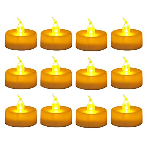 WoneNice 12 Pieces Amber Yellow LED Tealight Candles With Battery-Powered, Decorations for Parties, Events, Weddings -