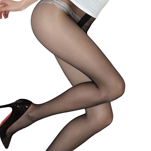 Blostirno Women's Summer Tights Ultra-sheer Pantyhose Control Top Invisible 1 Denier (1 Den Barely Black US-S/M/ASIAN M/L)