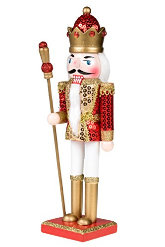 King Nutcracker | Traditional Christmas Decor | With King's Royal Scepter | Wearing Red and Gold Sequin Shirt | Perfect for Any Collection | Perfect for Shelves & Tables | 100% Wood | 12'' Tall by Clever Creations (Image #2)