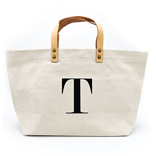 PumPumpz Canvas Tote Bag, Natural Color and Classic Monogrammed gifts. (Natural Fabric Handbags)