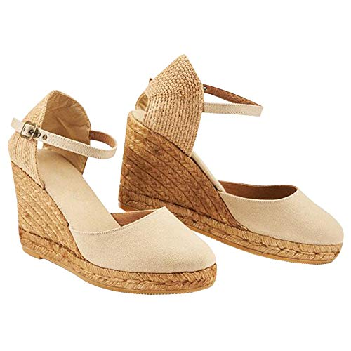 Ermonn Womens Platform Wedge Sandals Closed Toe Lace Up Ankle Strap Espadrille Sandals (6 M US, 6-Beige)