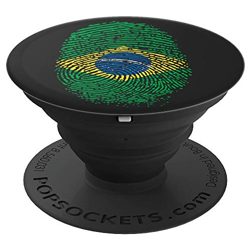 Proud DNA Brazil Flag Thumbprint Brasil Men Women PopSockets Grip and Stand for Phones and Tablets]()