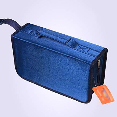 GWXJZ CD DVD Racks Large Capacity CD Package 128 Pieces Disc Package CD Package CD Box Dish Bag (Color : Blue) ()