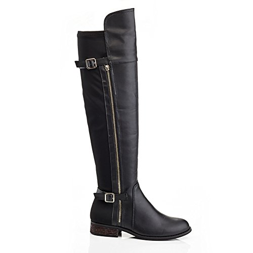 the Extreme Zipper Stretch by Black Eddie Marc Boot Over Buffy Knee Women's qHY4RUq