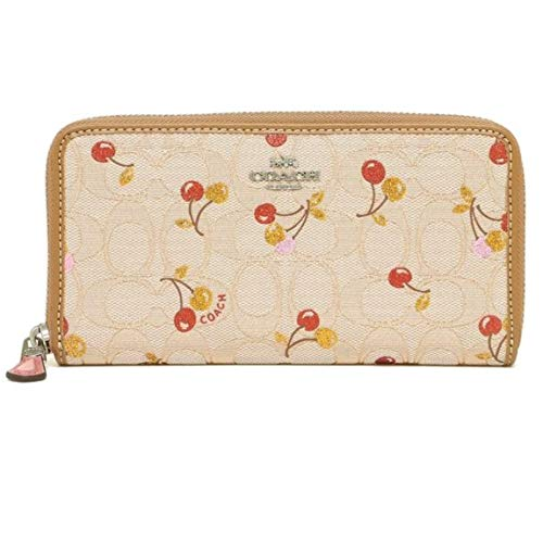 COACH F31563 ACCORDION ZIP WALLET ACCORDION ZIP WALLET IN SIGNATURE JACQUARD WITH CHERRY PRINT LIGHT KHAKI
