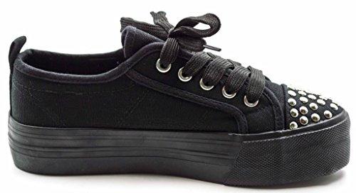 Charles Albert Womens Braady Stringate Sneaker Flats Nero / Argento