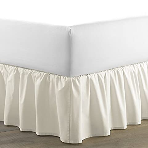 Laura Ashley Solid Ruffled Bedskirt, Queen, Ivory
