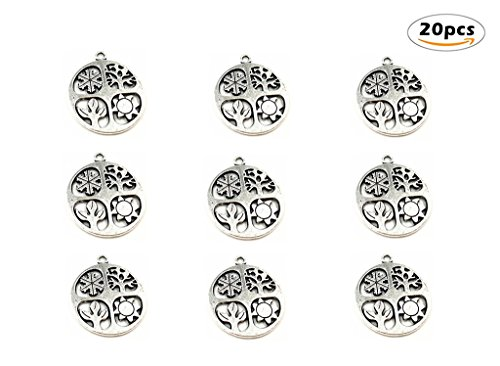 20pcs Four Seasons Symbol Hollow-out Charm Pendant for DIY Necklace Bracelet Jewelry Making Findings(Antique Silver Tone)