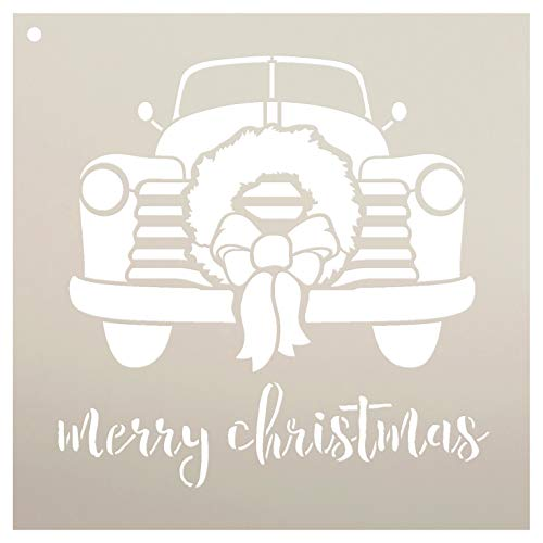Merry Christmas Truck Stencil by StudioR12 | Wreath Bow Cursive Script | Reusable Mylar Template | Paint Wood Sign | Craft Vintage Holiday Home Decor | Rustic DIY Country Farmhouse Gift | Select Size