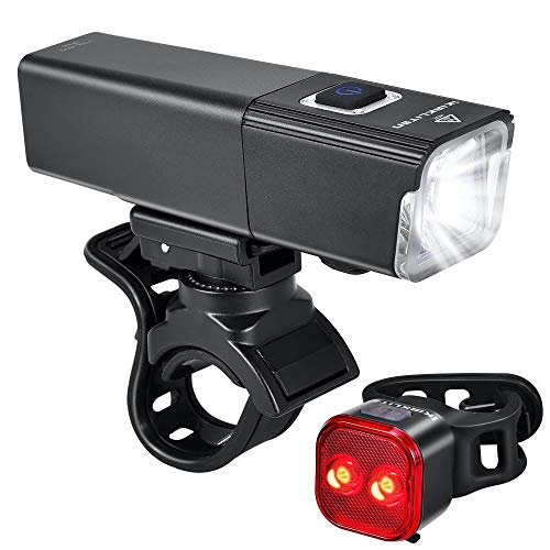 2019 Upgrade 800 Lumens Bike Light USB Rechargeable, LED Bicycle Headlight Front and Back Rear Tail Lights, IPX6 Waterproof, Easy to Install for Men Women Kids Cycling Safety Flashlight (Black)