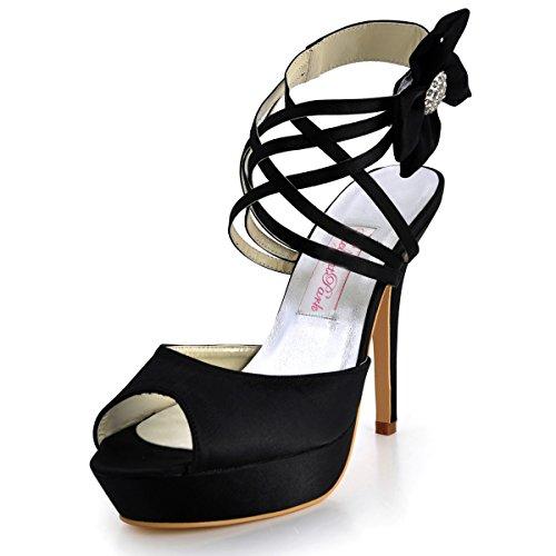 Bout Fleurs Plateau Mariage De Multi Femme pf Ouvert Bride Sandales Elegantpark Chaussures Noir Aiguille Ep2031 Mariee qOwpxn0qgt