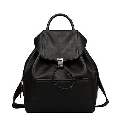 BXMB Bolso De cuero,mujer,2017 nuevo balde de cuero suave,handbag,simple Mochila Drawstring,gules black