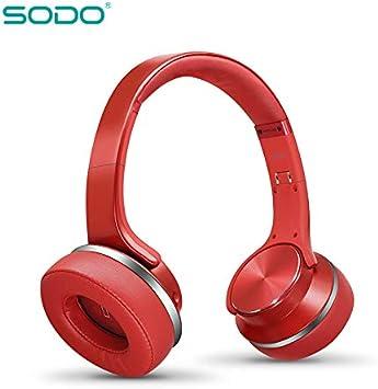 Auriculares de Diadema, MP3, Radio FM, Altavoz, 2 en 1, inalámbricos, Color Rojo: Amazon.es: Electrónica