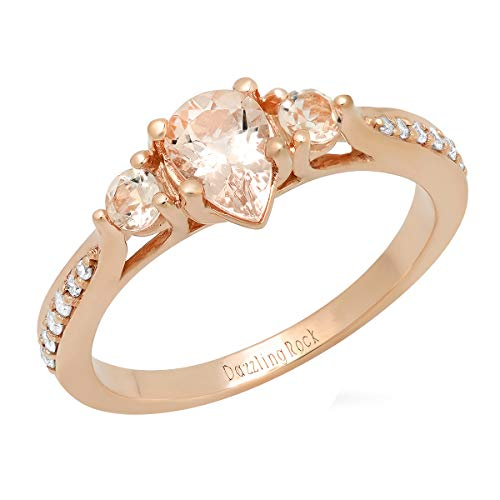 - Dazzlingrock Collection 10K 7X5 MM Pear Morganite & Round White Diamond Bridal 3 Stone Engagement Ring, Rose Gold, Size 9.5