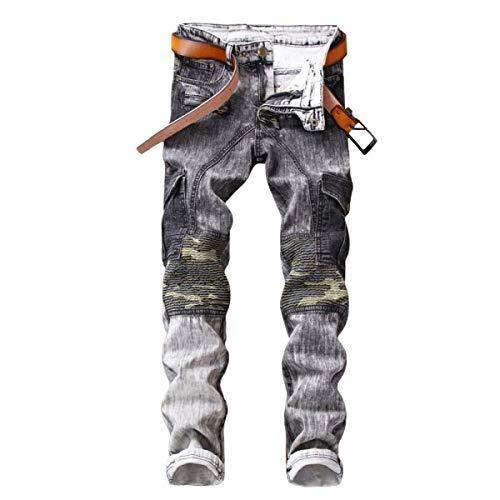 Dritti Denim Bolawoo Marca Casual A Pantaloni Vita Camouflage Bassa Cinturino Da Di Mimetici Uomo Senza Mode Jeans UwOq5w