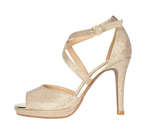 GLITTER PAIRS 10 Fashion Stilettos Sandals DREAM Heeled GAL GOLD Women's Fqnz6C
