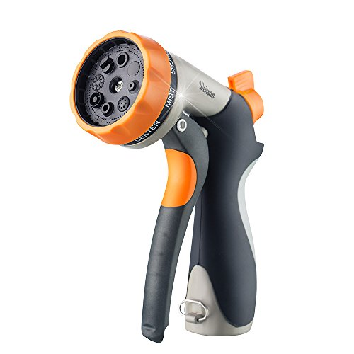 Weirran Nozzle High Pressure Heavy Duty Hose Sprayer with Flow Control Knob 8 Adjustable Patterns Suitable for Watering Garden & Lawns, Cleaning, Car Washing and Showering Pets, 6.024.722.36 inch