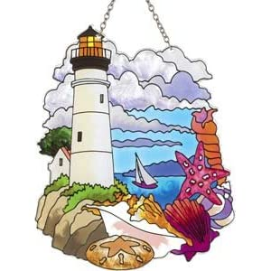 """Lighthouse and Shells Painted Glass Suncatcher by Joan Baker 5.25"""" x 7"""""""