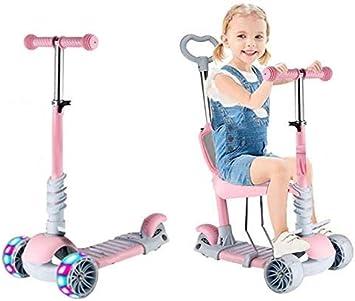 Oferta amazon: Baobë 5 en 1 niños Kick Scooter, Scooter Ajustable para niños pequeños de 1 a 6 años de Edad. Niños y niñas apoyan 50 kg. (Rosa Claro)