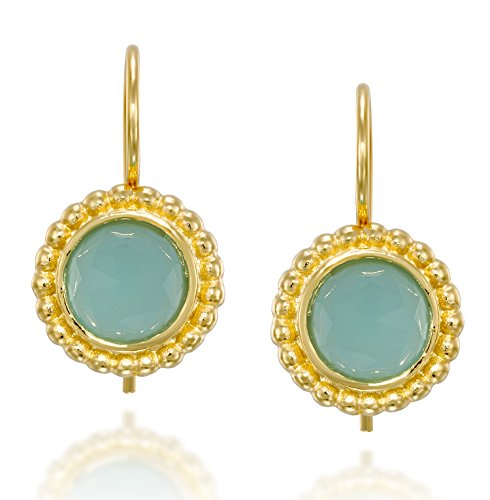 (Elegant 14k Gold Plated Silver Round Drop Earrings With 8 mm Faceted Created Aqua Quartz and Secure Backs)