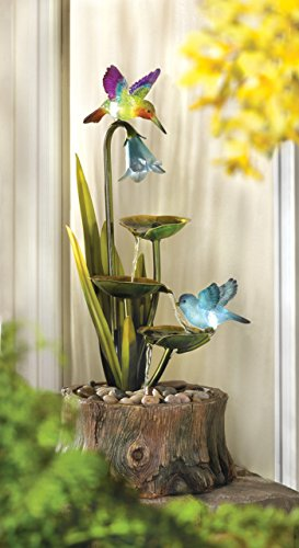 Garden Relaxation Hummingbird Fountain Indoor Outdoor Waterfall Pump Statues Sculptures Ornament Pond Feng Sui Decorative