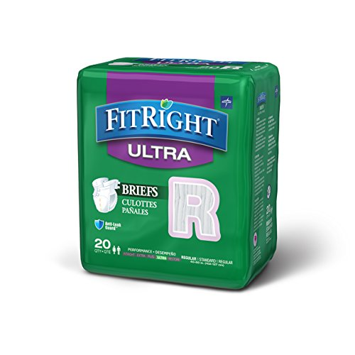 medline FitUltra Adult Brief, Size Regular, 4 packs of 20...