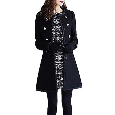Chaofanjiancai Winter Women's Warm Jacket Wool Lapel Windbreaker Coat Solid Button Cardigan Outwear