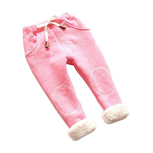 Kids Baby Girls Winter Leggings Thick Warm Fleece Pants Casual Trousers,12-24 Months,Pink ()