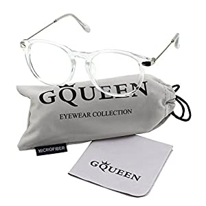 GQUEEN 201588 Fashion Oval Horn Rimmed Keyhole Metal Temple Clear Lens Glasses,Transparent