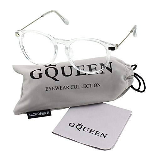 GQUEEN 201588 Fashion Oval Horn Rimmed Keyhole Metal Temple Clear Lens - Clear Round Frame Glasses