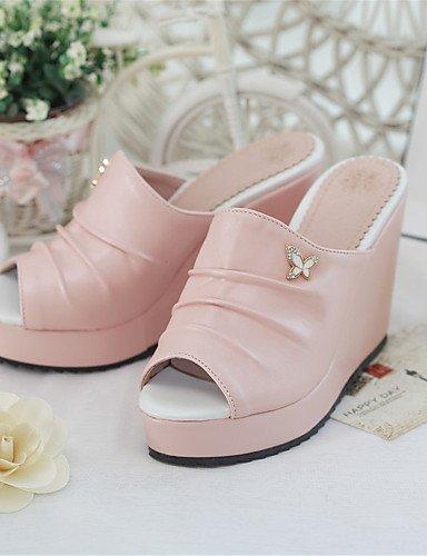 LFNLYX Zapatos de mujer-Tacón Cuña-Cuñas-Sandalias-Boda / Vestido / Casual / Fiesta y Noche-Semicuero-Negro / Azul / Rosa Pink