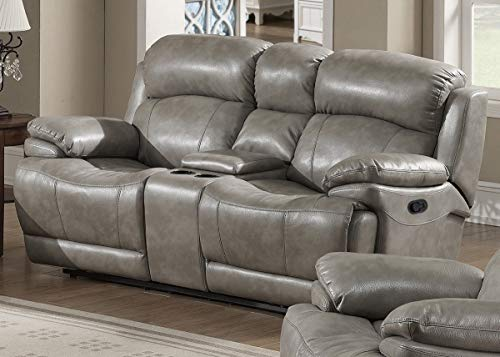 AC Pacific Estella Collection Contemporary Upholstered Leather Recliner Loveseat with Storage Console and Cup Holders, Gray