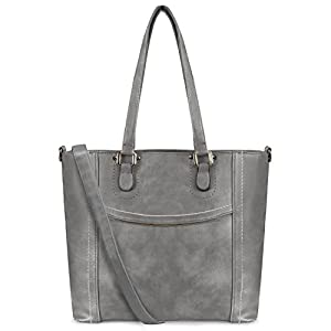YOLANDO Women Large Top Handle Handbags PU Vegan Leather Tote Shoulder Bags Satchel Zipper Cross Body Bags (Dark Gray)