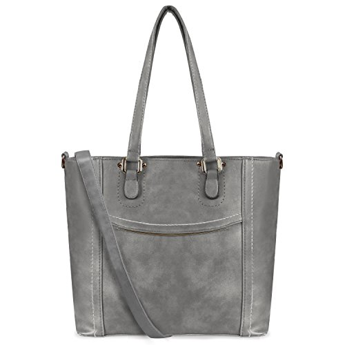 Top Handle Handbags PU Vegan Leather Tote Shoulder Bags Satchel Zipper Cross Body Bags (Dark Gray) ()