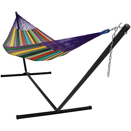 Sunnydaze Hand-Woven 2-3 Person Mayan Hammock with Stand, Family Size,...