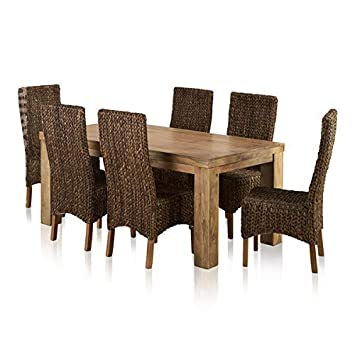Oak Furniture Land Mantis Light Natural Solid Mango Dining Set