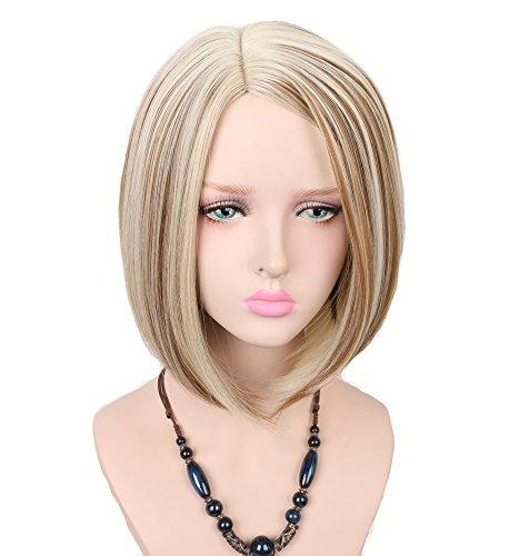 Women Bob Hairstyle Wig Kanekalon (Mixed Color) - 4