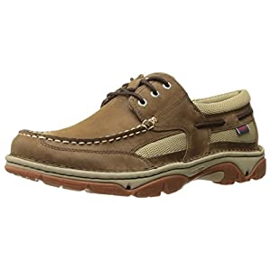 Sebago Men's Cyphon Stream Three Eye Boating Shoe, Dark Taupe Leather, 8 M US