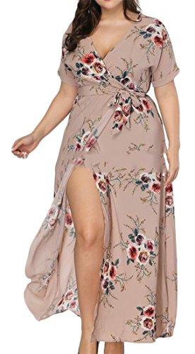 Bandage À Manches Impression Florale Des Femmes Cromoncent Courte Coupe-bas Haute Fente De Couleur Kaki Robe De Boho