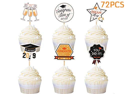 - Locisne 2019 Graduation Cupcake Toppers, Mini Cake Decorations for Congrats Grad Party Supplies, DIY Graduation Photo Props (72 pcs)