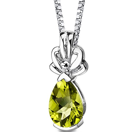 Peridot Tear Drop Pendant Necklace Sterling Silver Rhodium Nickel Finish 2.00 Carats