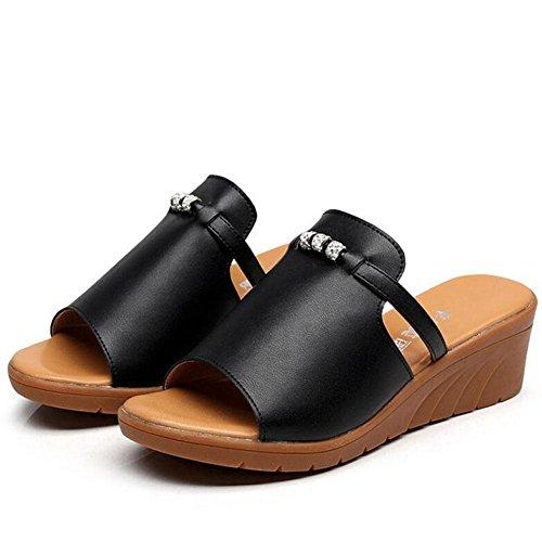 Neigung L Sandalen Rinder 2017 Neigung Leder Sehne Mit Einteilige Schuhe YC Damen black 35 6FrwXqFS